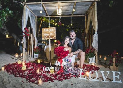Wedding proposal decorations private beach phuket