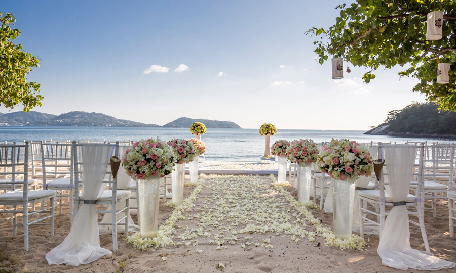 Flowers Festivities Romantic Phuket on Private Beach Gold Wedding Package